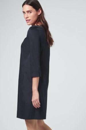 Baumwollsatin-Kleid in Navy