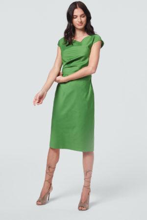 Baumwollstretch-Etui-Kleid in Grün