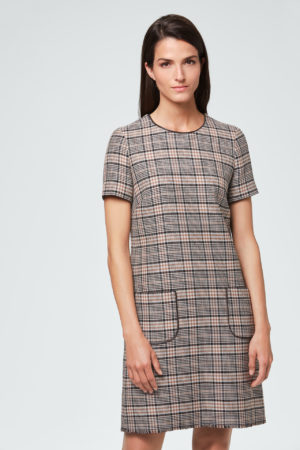 Business-Kleid in Check-Optik Cognac-Braun-Schwarz