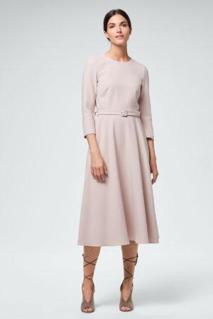 Business-Kleid mit Gürtel in Beige