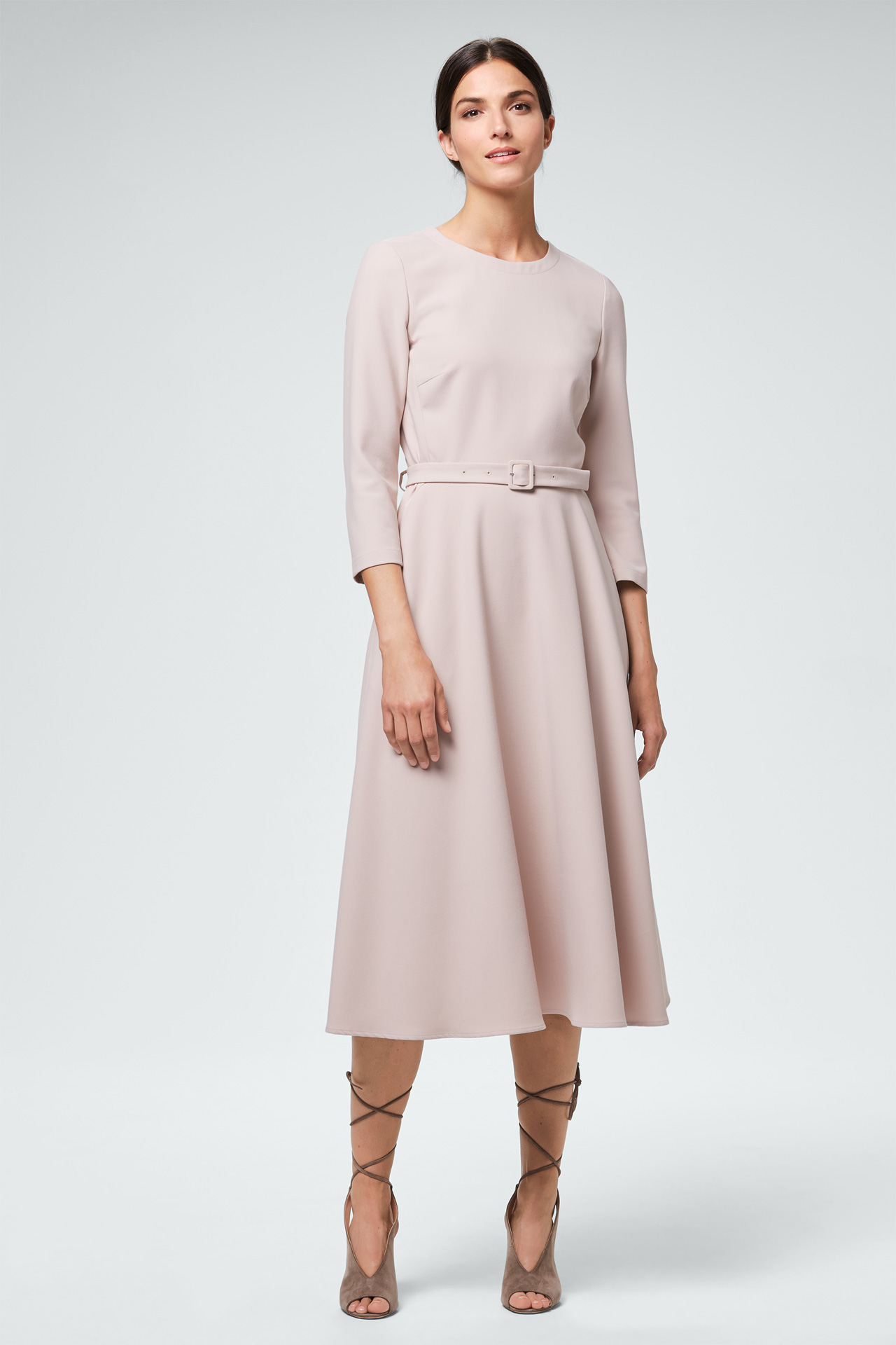 Business-Kleid mit Gürtel in Beige - Styles4Work