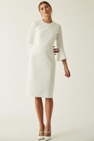Kleid mit Volant Ärmeln Midi
