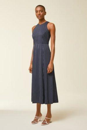 Midi Kleid mit Nadelstreifen