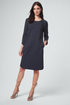 Schurwoll-Stretch-Business-Kleid in Navy