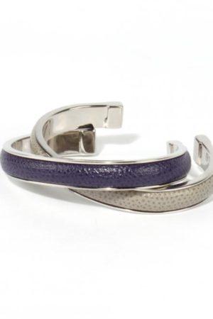 Armreif lederbezogen, violett