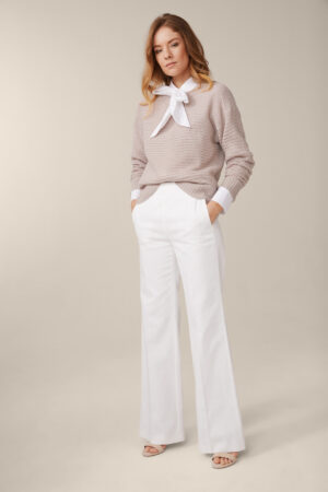 Cashmere-Pullover in hellem Taupe