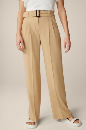 Iconic Tailoring Wollcrêpe-Palazzo-Hose in Beige