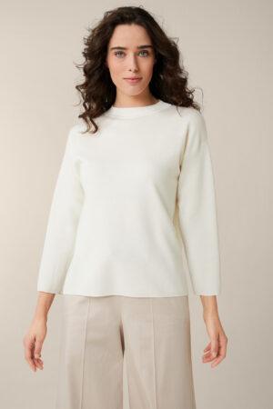 Merino-Strick-Pullover mit Stehkragen in Ecru